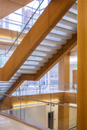 Wood flat panels on staircase